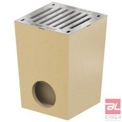 SELF udvari lefolyó, 25x25 cm-s horganyzott acél bordás ráccsal, bűzzárral, szennyfogó kosárral, DN110 csőcsatlakozással
