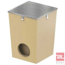 SELF udvari lefolyó, 25x25cm-s, rozsdamentes acél kerettel és rozsdamentes acél ráccsal, bűzzárral, szennyfogó kosárral, DN110 csőcsatlakozással