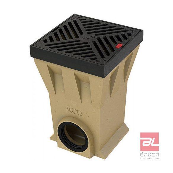 Drain Pointlock pontszerű összefolyó, 30x30 cm-s, öntöttvas kerettel, öntöttvas ráccsal, bűzzárral, szennyfogó kosárral, DN110 csatlakozással, B125 terhelhetőséggel