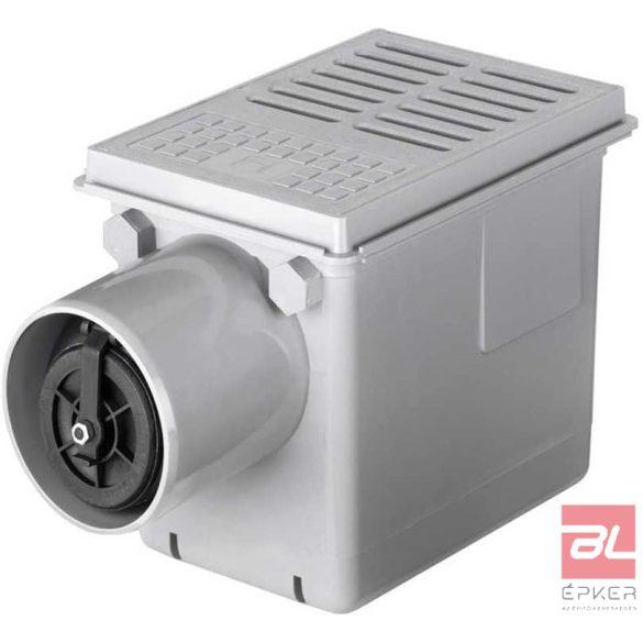 RUG SELF Pince összefolyó, 240x170mm-s műanyag ráccsal, visszatorlódásgátlóval, vízszintes DN 110 kivezetéssel, H = 210mm, szürke színben